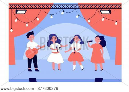 School Talent Show. Boy And Girls Singing And Playing Guitar On Stage. Vector Illustration For Kids