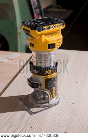 Kyiv, Ukraine - 22.07.2020: Newest Wireless Model Of Electric Trimmer, Wood Router Tool Of World-fam