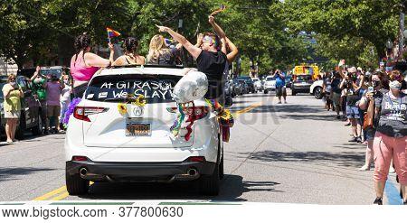 Babylon, New York, Usa - 28 June 2020: Rear View Of Car In Gay Pride Car Parade Held In Babylon Vill