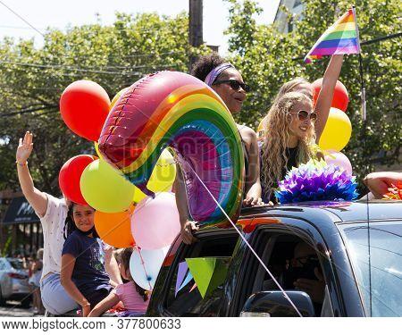 Babylon, New York, Usa - 28 June 2020: Gay Pride Car Parade Held In Babylon Village With People Cele
