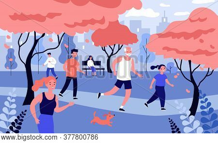 Happy People Running In City Park At Autumn. Dog, Sport, Jogging Flat Vector Illustration. Nature An