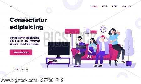 Group Of Friends Watching Scary Movie Flat Vector Illustration. Cartoon People Sitting At Sofa Toget