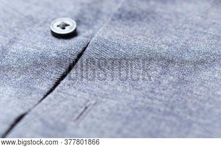 Close Up Of Men's Shirt. Cotton Fabric. Copy Space.