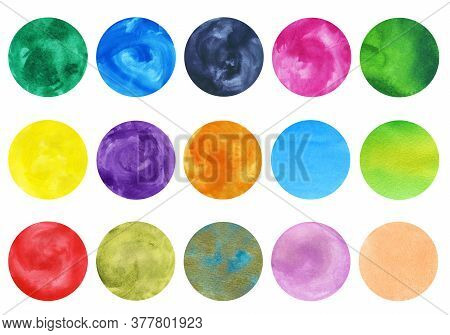Highlight Covers Background. Set Of Hand Drawn Watercolor Circles. Multi-colored Design Elements For