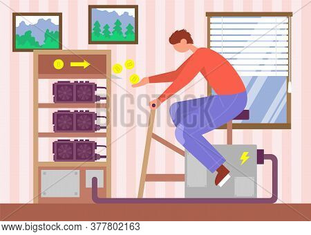 Man Sits And Turns The Mining Farm And Gets Bitcoins. Color Vector Flat Cartoon Illustration. Concep