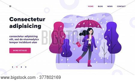 Happy Smiling Girl With Umbrella Walking In Rainy Day Flat Vector Illustration. Woman Staying Outdoo