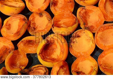 Freshly Harvested Pitted Apricots As A Natural Background.