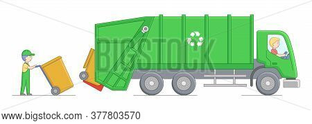 Urban Services And Environment Protection Concept. Worker Collect Garbage And Loading It Into Garbag