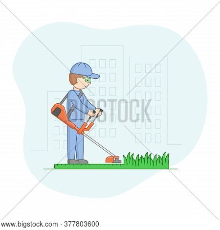 Gardening And Leisure Concept. Male Character Gardening, Mowing Lawn With Lawn Mover. Man Is Working
