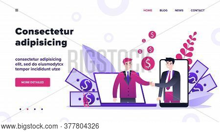 Partners Shaking Hands Flat Vector Illustration. Businessman And Sponsor Beginning Startup. Partners