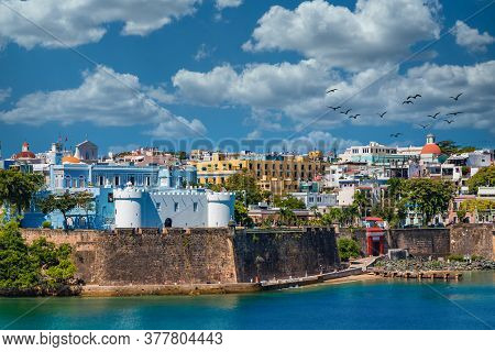 Colorful, Historical Buildings On The Coast Of Old San Juan, Puerto Rico