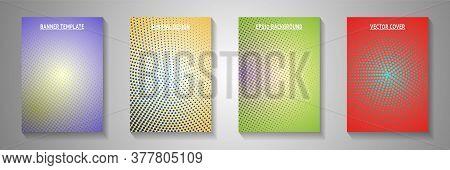 Modern Circle Screen Tone Gradation Cover Templates Vector Collection. Business Catalog Faded Screen