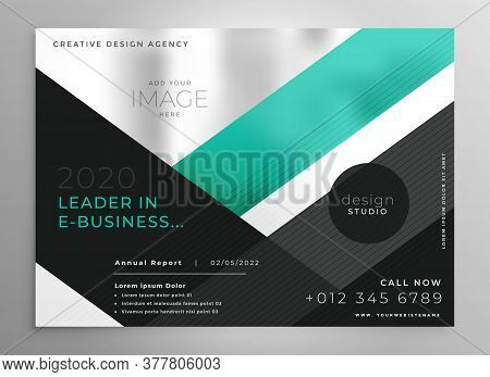Turquoise Geometric Business Brochure Presentation Template Design