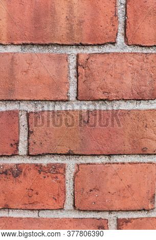 Background Of Old Brick Wall. Soft Focus. Front View.
