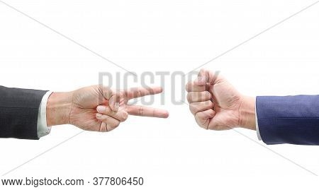 Rock Paper Scissors Concept - Business Hands Isolated On White Background