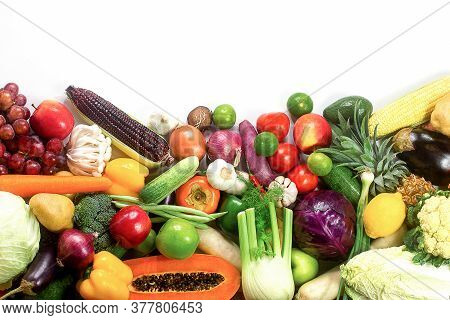 Fresh Vegetables And Fruits Isolated On White Background With Copy Space,colorful Fruits And Vegetab