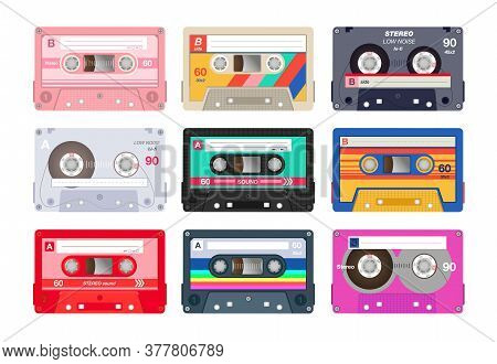 Vintage Stereo Cassettes Flat Icon Set. Different Retro Audio Tapes, Old School Media Equipment Isol