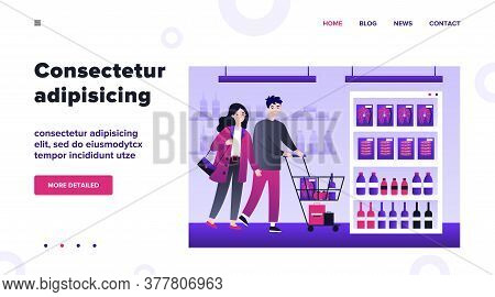 People Buying Food At Supermarket Flat Vector Illustration. Cartoon Customers With Cart Walking Down