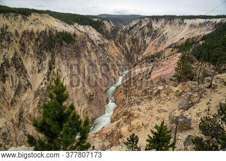 The Yellowstone River Along The Grand Canyon Of The Yellowstone In The National Park