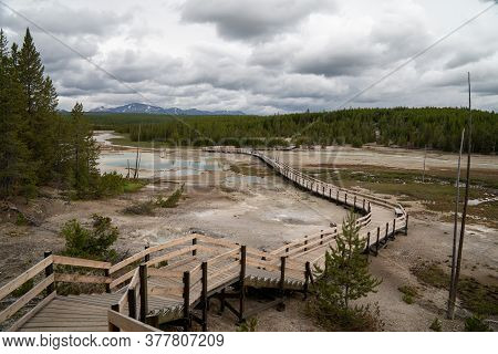 The Long, Winding Boardwalks In Norris Geyser Basin In Yellowstone National Park