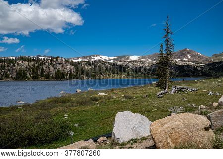 Long Lake, An Alpine Lake Along The Beartooth Highway In Montana And Wyoming