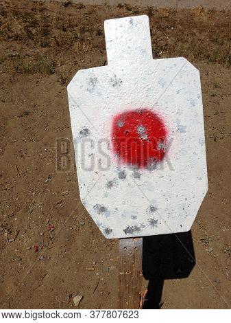 Metal Targets At Shooting Range Outdoor Firearm Rifle Shotgun Practice Sunny