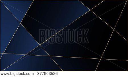 Blue Luxury Polygon Pattern. Gold Lines Triangular Premium Banner. Elegant Dark Platinum Chic Shapes