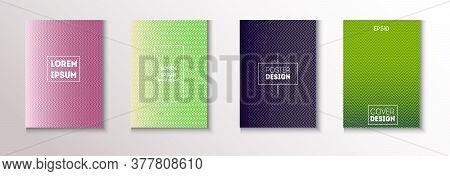 Folded Minimal Cover Vector Set. Modern Flyer Graphic Design. Pattern Gradient Overlay Business Fold