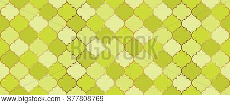 Turkish Mosque Window Shape. Ramadan Kareem Islam Background. Seamless Moroccan Mosaic Pattern. Rama
