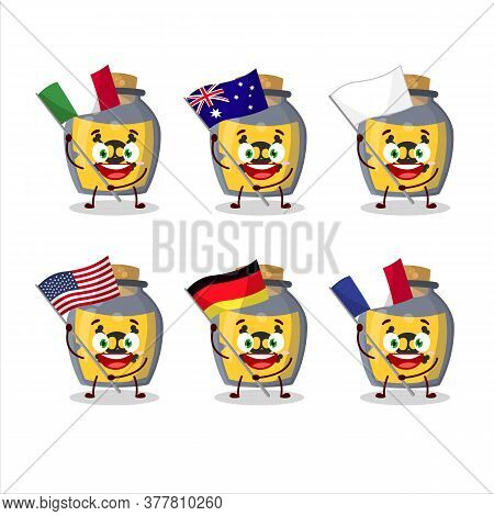 Dangerous Potion Cartoon Character Bring The Flags Of Various Countries