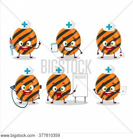 Doctor Profession Emoticon With Halloween Stripes Candy Cartoon Character