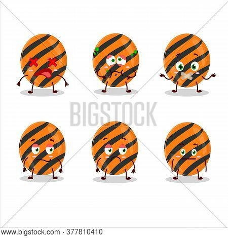 Halloween Stripes Candy Cartoon Character With Nope Expression