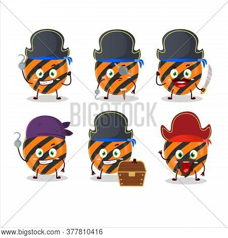 Cartoon Character Of Halloween Stripes Candy With Various Pirates Emoticons