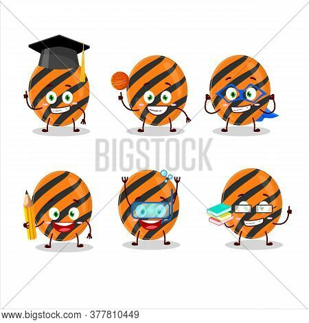 School Student Of Halloween Stripes Candy Cartoon Character With Various Expressions