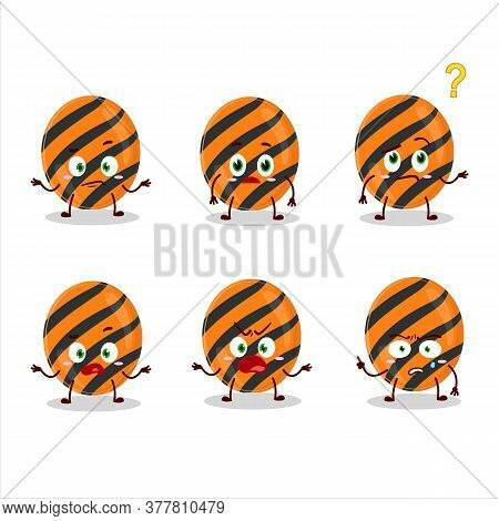 Cartoon Character Of Halloween Stripes Candy With What Expression