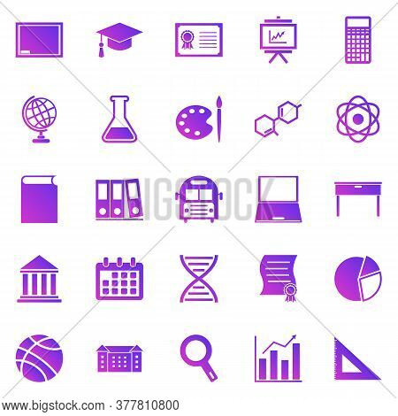 Education Gradient Icons On White Background, Stock Vector
