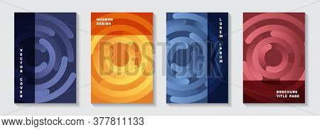 Business Catalog Covers Templates. Tech Newsletter Circles Swirl Vector Backdrops. Aim Goal Achievem