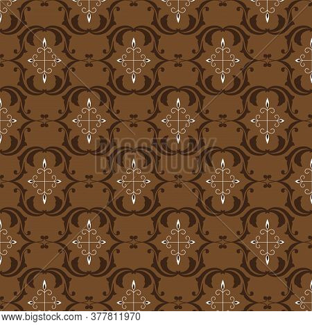 Beautiful Flower Motifs On Central Java Batik Design With Dark Brown Color Design.