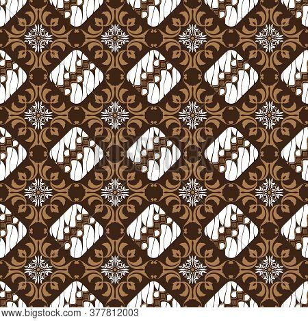 Unique Art Work Motifs On Parang Batik Design With Simple White Brown Color Design.