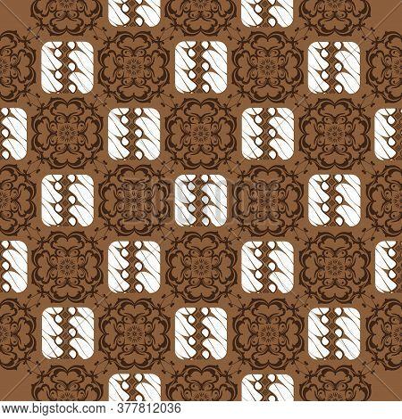 The Beauty Flower Motifs On Solo Batik Design With Dark Brown Color Design.