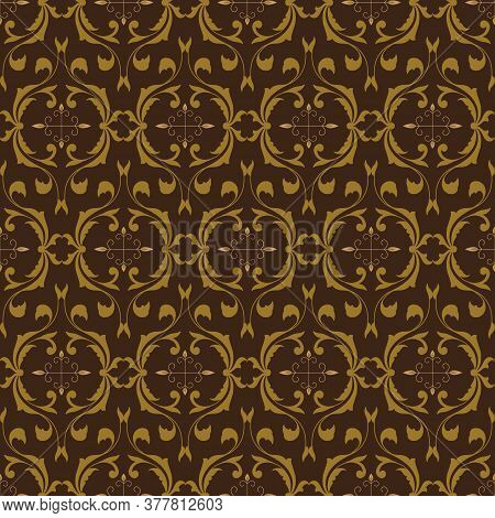 Unique Pattern In Indonesia Batik Style With A Simple Blend Of Green Olive And Brown Color.