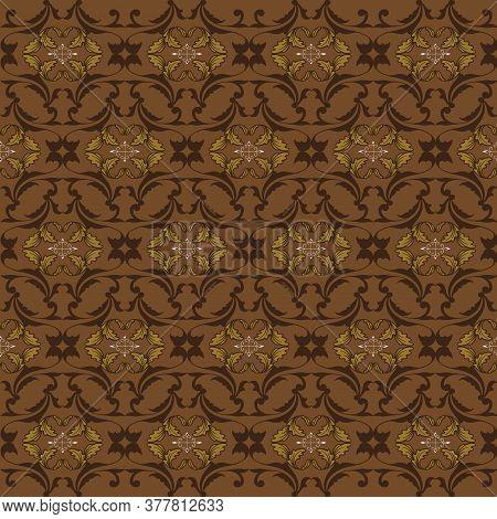 The Beautiful Art Of Jogja Batik Pattern With Modern Brown Color Design.