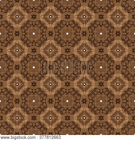 Elegance Seamless Pattern On Solo Batik With Flower Motifs And Simple Brown Color Design.