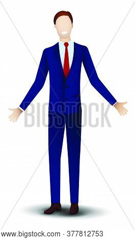 Man, A Businessman In A Dark Blue Classic Suit Stands Smiling, Arms Outstretched For A Friendly Gree