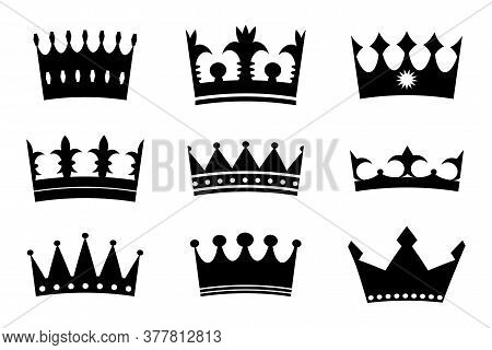 Vector Image Of Crowns. Royal Badge. Royalty Symbol Illustration. Luxurious Heraldry.