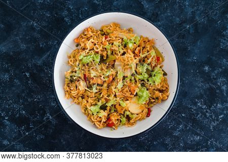 Healthy Plant-based Food Recipes Concept, Vegan Ginger Noodles With Stir Fry Vegetables And Grated C