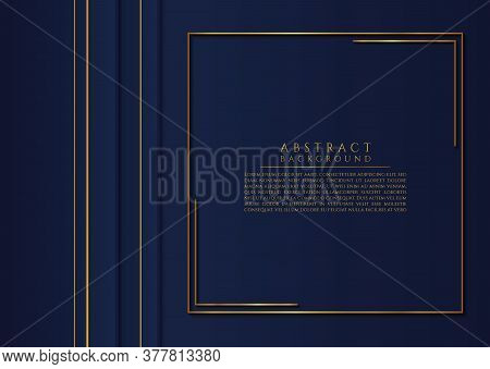 Abstract Gold Metallic Frame Square Shape Overlap Layer With Space For Content. Vector Illustration.