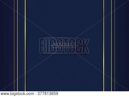 Overlap Square Layer Shape Design Gold Metallic Line Style Pattern Background. Vector Illustration.