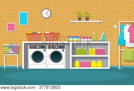 Laundromat Clothes Washing Machine Laundry Tools Modern Interior