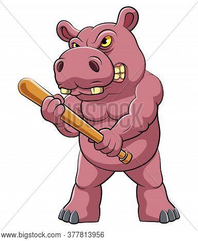 Hippo Standing And Holding Baseball Bit Of Illustration